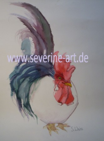 Aquarell Hahn weiss 2.Version